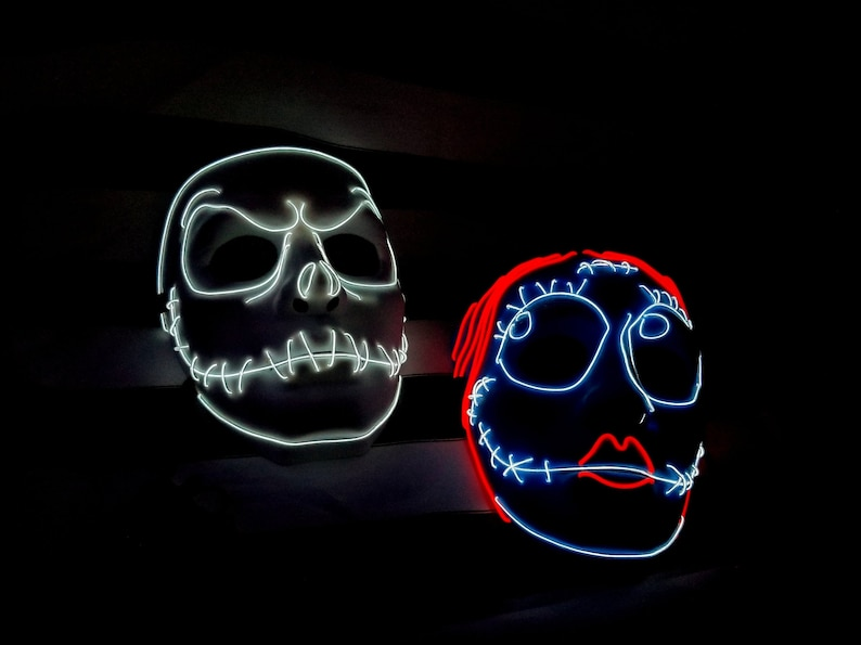 SALLY ~ LED Light Up Mask,El Wire,Halloween,Stitched,Tim Burton,Cosplay,Rave Mask,Face Mask,Party Mask,Masquerade Mask,Festival,edc,Scary