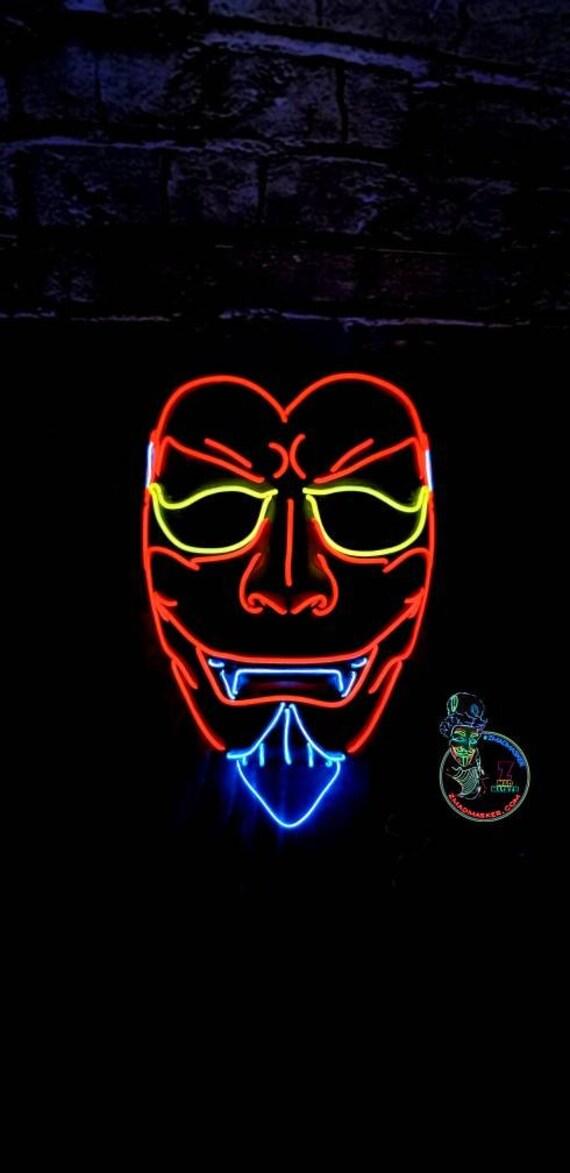 RED DEVIL Demon Licht bis Maske-15 Ft EL-Wire Led Satan