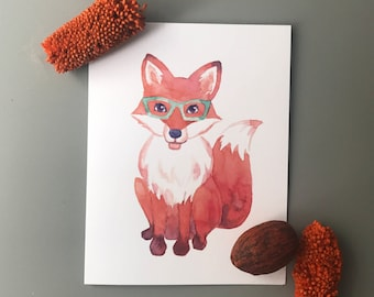 Fox in Glasses Note Card Set