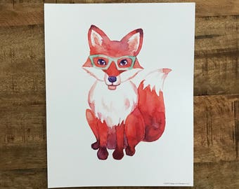 Fox in Glasses Print