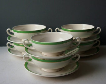 Vintage Soup Bowls and Saucers, Set of 6 Bowls, Green and Gold, Queens Green, Solian Ware, Traditional Soup Bowl Set, Vintage Crockery