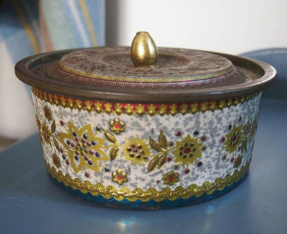 decorative patterned tin collectibles vintage display tin etsy