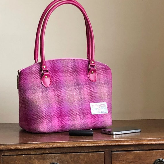 fe19d1c983 Pink Harris Tweed handbag Harris Tweed purse wool purse