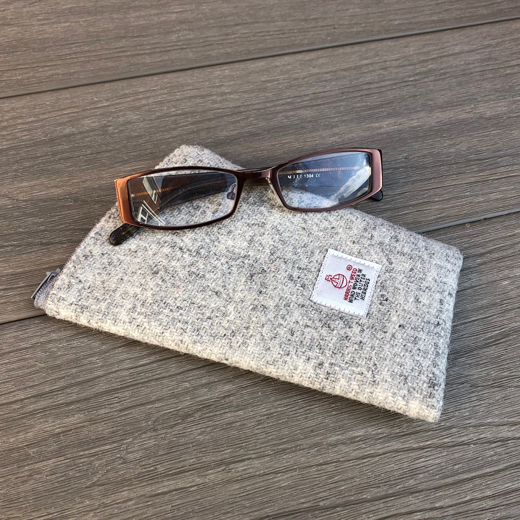 b0b19b8c7cc0 Harris Tweed glasses case soft sunglasses case grey wool