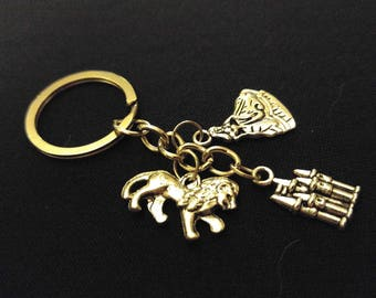 BEAUTY BEAST Fairy Tale Castle Silver Metal Charm Keychain Key Ring Unique Gift