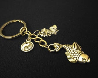 GOOD LUCK Yin Yang Fortune Fish Chinese Dragon Silver Metal Charm Keychain Key Ring Unique Gift