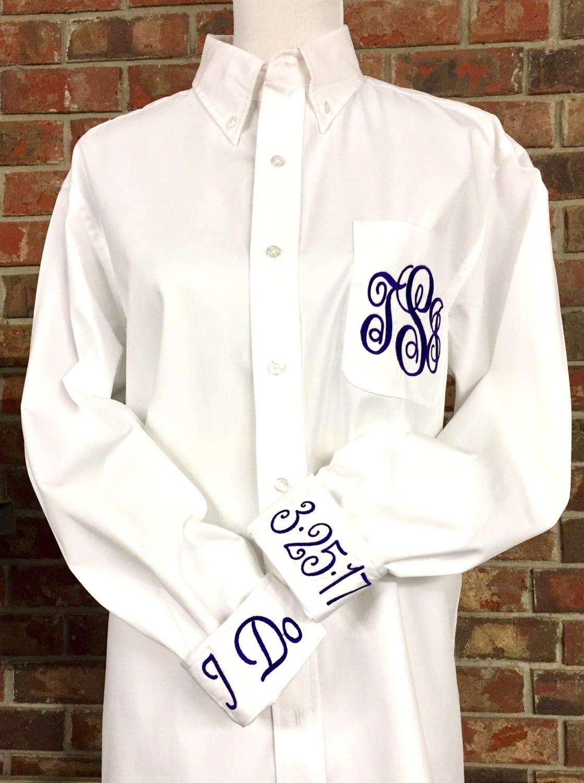 Wedding Embroidered Dress Shirts Oversized Wedding Day Etsy