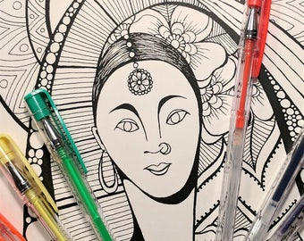 Printable Coloring Page -  Coloring Pages - The Goddess Suni INSTANT DOWNLOAD