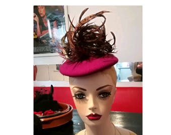 Pink Feather Hat Hats for Wedding Hat for Races Cerise PillBox Hat Curled Pheasant Feather Fascinators Pink Wedding, Race Hat, Fascinator,