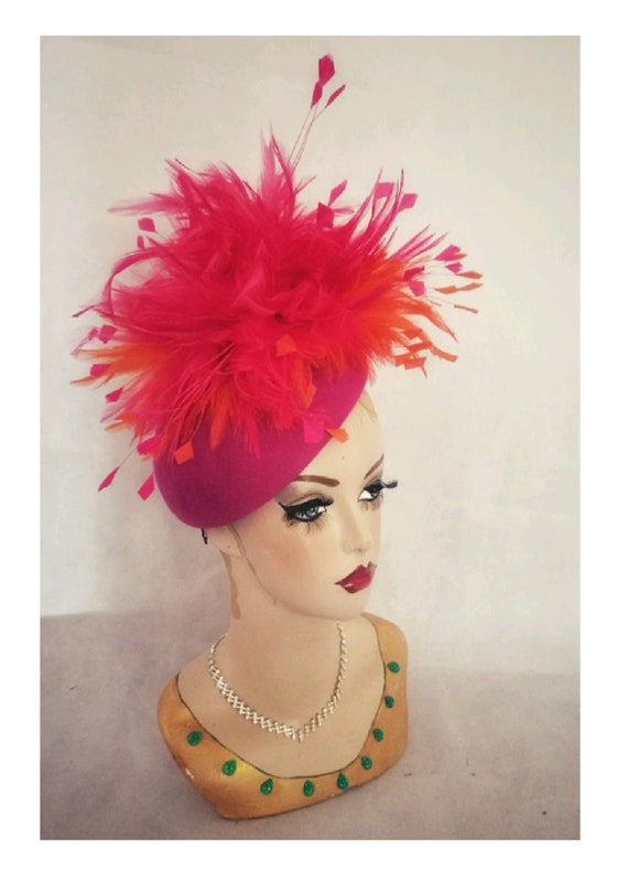 Hot Pink Hat Orange Pink and Orange Hat Fascinator wedding  ce47f6a04cf