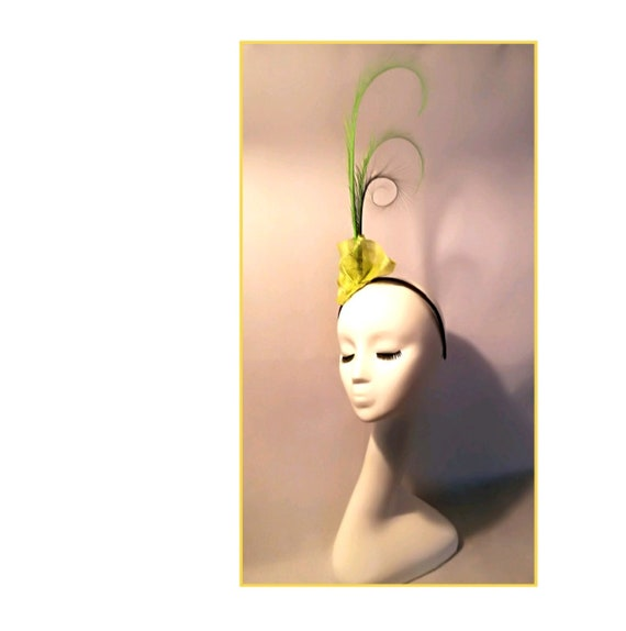 Lime Green Fascinator Fascinator Green Wedding Hat Long  7b3e2b38bc3