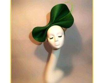Green Hat, Large Wedding Hat, Unusual Hat for Races, Unique Hat for Wedding, Funky Hat, Quirky hats, Dark Green Straw Hat, Ascot Race Hat