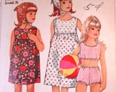 60s Simplicity 6471 Girl 39 s Dress, Two-Piece Bathing Suit and Scarf Vintage Pattern, size 8