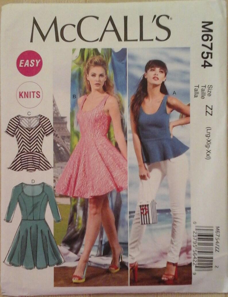 McCalls Pattern M6754 Ms EZ Knits Close-Fit /& Flared Tops /& Dresses w//Variations
