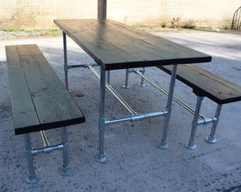 industrial style outdoor furniture. Industrial Style Dining Table And Benches, Use Indoors Or Out, Galvanised Steel Reclaimed Scaffold Board Outdoor Furniture