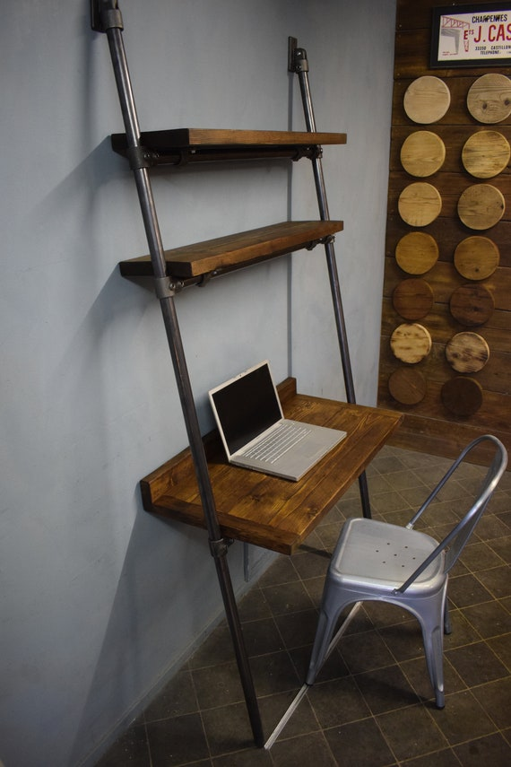 wholesale dealer a6d36 ca74e Raw Steel Lean-to Desk/Ladder Desk, Industrial Style, Reclaimed Scaffold  Board Desk Top and Shelves with Raw Steel Frame