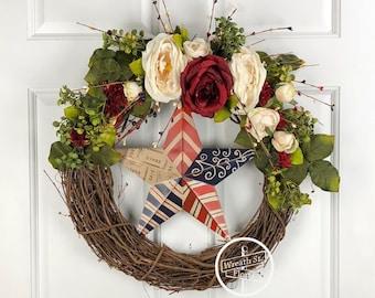 Patriotic Wreath, Star Wreath, Pip Berry Wreath, Rose Wreath, 4th of July Wreath, Farmhouse Wreath, Front Door Wreath, Wreath Street Floral