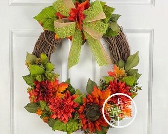 Fall Wreath, Autumn Wreath, Door Wreath, Rust Orange Wreath