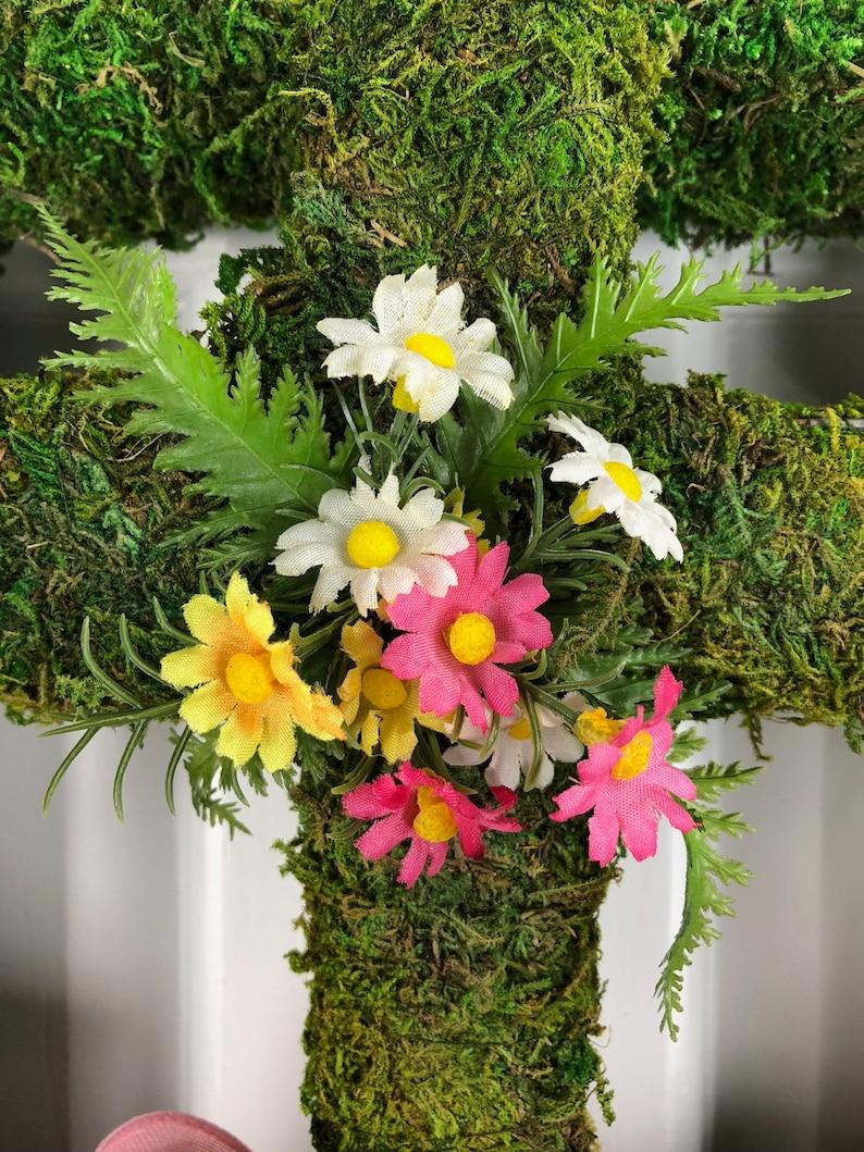 Cross Wreath Religious Wreath Square Wreath Moss Wreath Front Door Wreath Window Wreath,Easter Wreath Greenery Wreath Memorial Wreath