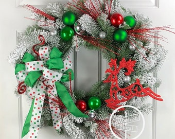 Christmas Wreath, Flocked Wreath, Green Red Wreath, Holiday Wreath, Front Door Wreath, Wreath Street Floral