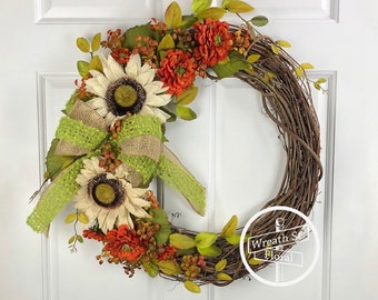SALE Farmhouse Wreath, Autumn Wreath, Sunflower Wreath, Summer Wreath, Orange Wreath, Front Door Wreath, Grapevine Wreath