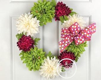 Spring Wreath, Pink Wreath, Summer Wreath, Front Door Wreath, Wreath Street Floral, Grapevine Wreath, Year Round Wreath, Everyday Wreath
