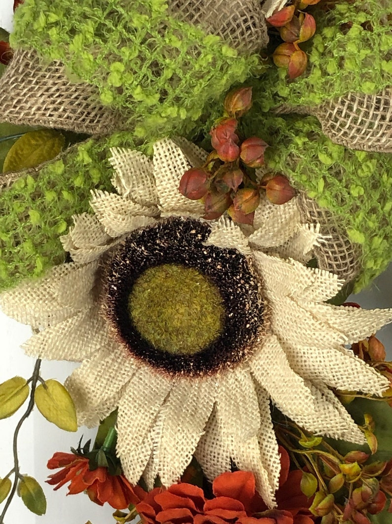 Initial Wreath Burlap Wreath Autumn Letter Wreath Monogram Wreath Wreath Fall Monogram Wreath Sunflower Wreath Farmhouse