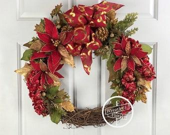 Christmas Wreath, Holiday Wreath, Poinsettia Wreath, Red Wreath, Front Door Wreath, Wreath Street Floral, Grapevine Wreath, Door Wreath