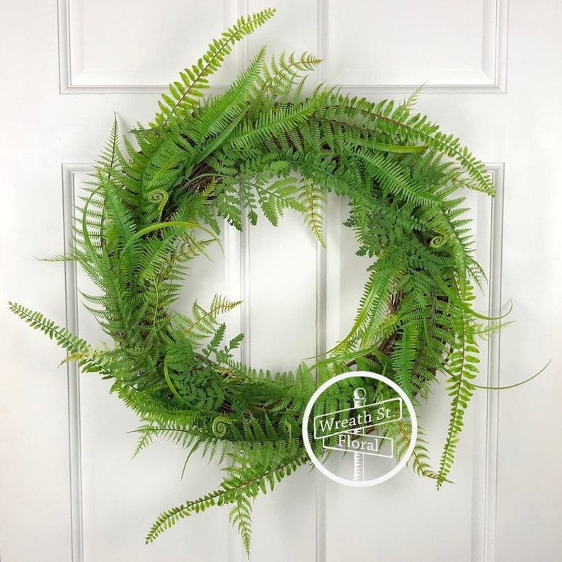 Greenery Wreath Fern Wreath Front Door Wreath Window Etsy