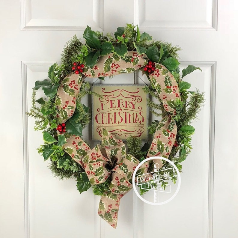 SALE Christmas Wreath Pine Wreath Holly Wreath Front Door image 1