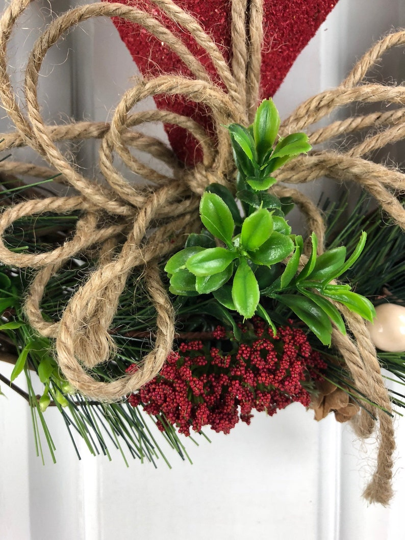 Valentine Wreath Heart Wreath 12 inch Wreath Farmhouse Wreath Rustic Wreath Front Door Wreath Red Wreath Wall Wreath Window Wreath
