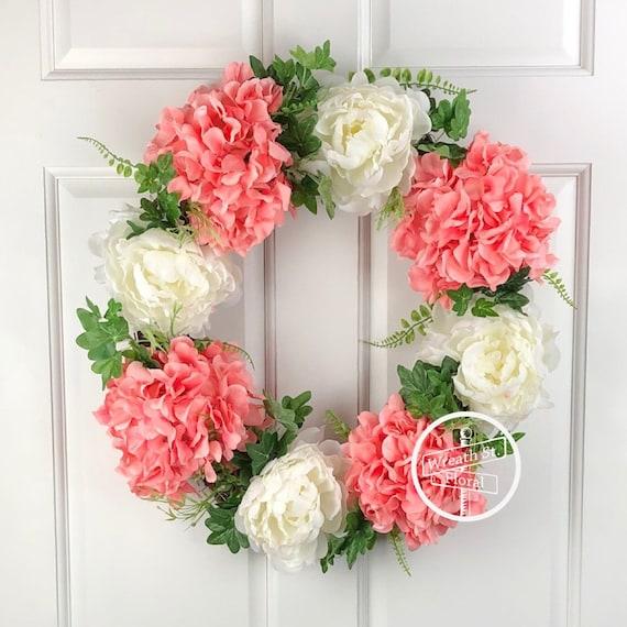 Hydrangea Wreath Coral Wreath Peony Wreath Spring Wreath Etsy