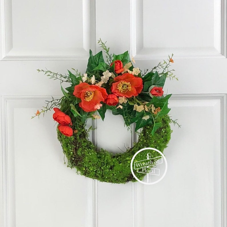 Small Wreath 11 5 Inch Wreath Moss Wreath Front Door Etsy
