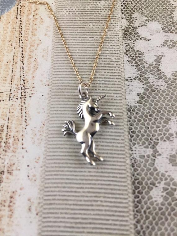 Sterling Silver Unicorn Pendant Necklace 18