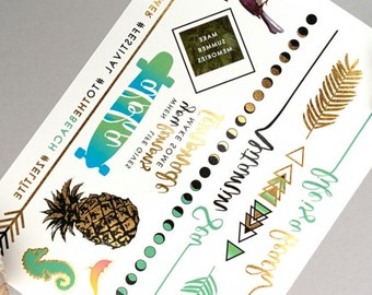 LIFE IS A BEACH Temporary Tattoo Sheet