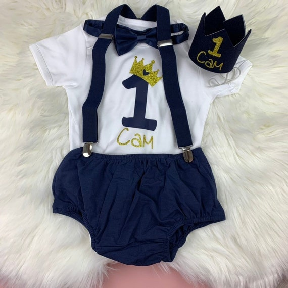 Boys Personalised 1st First Birthday Vest Shorts Bow Tie Cake Smash Outfit Blue
