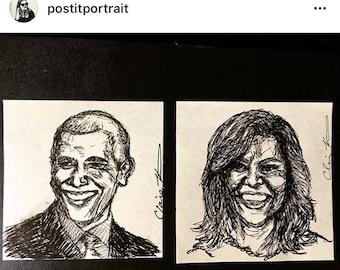 Celebrity - Commissioned Original Hand Drawn Ink Portrait - Post-It Note - Framed - Fan artwork