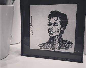 Prince - Commissioned Original Hand Drawn Ink Portrait - Post-It Note - Framed - Celebrity