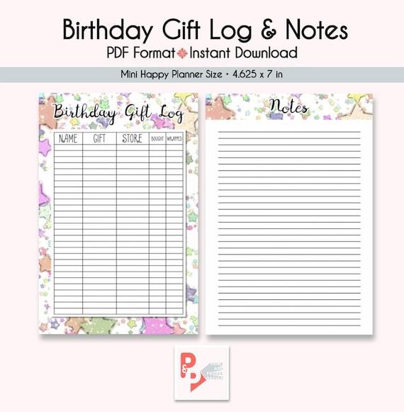 birthday gift log notes mini happy planner printable etsy