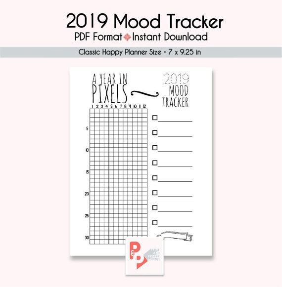 2019 mood tracker happy planner printable insert happy