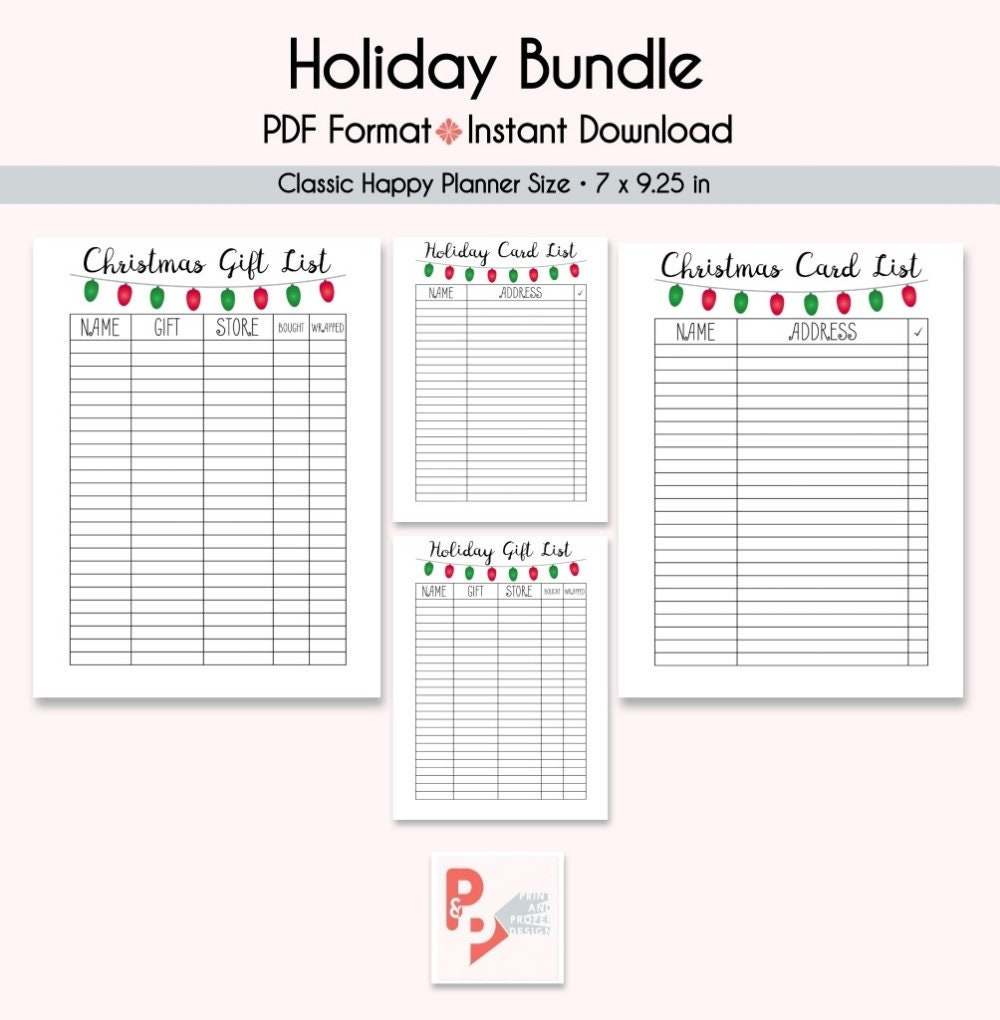 HOLIDAY LIST Bundle Happy Planner Printable Inserts Create | Etsy