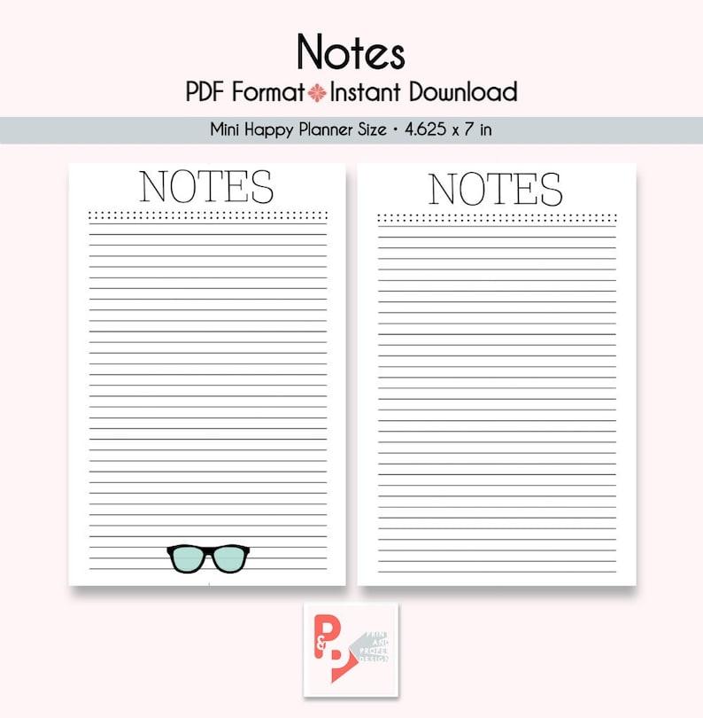 image regarding Happy Planner Printable Inserts named NOTES Mini Satisfied Planner Printable Inserts, Establish 365, Delighted Planner Add, Satisfied Planner Mini, MAMBI Planner, Immediate Down load