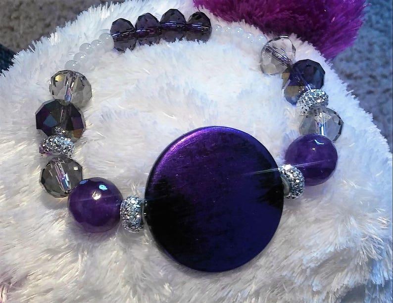 sparkling shine bead bracelet Purple circle wood charm bracelet stretchy bracelet purple and white crystals purple bracelet for women