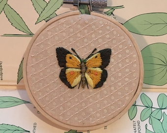 Hand Embroidered Butterfly, Embroidery Hoop Art
