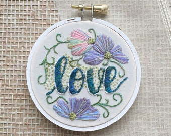 Hand Embroidered Hoop, Love Embroidery, Hoop Art