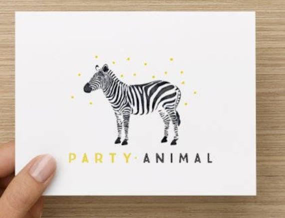 Funny Zebra Card Party Animal Birthday Card Handmade Zebra Etsy