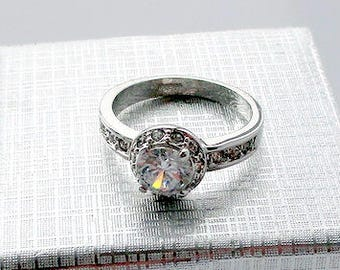 Wedding ring Halo Engagement ring Promise ring for her Diamond ring Anniversary ring Diamond engagement Bridal ring Halo ring Women ring