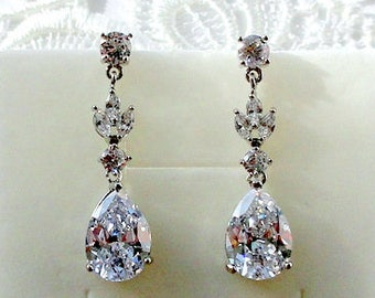 Bridal earrings Dangle Drop earrings Crystal Wedding earrings Bridal jewelry Silver Teardrop earrings Bridesmaid earrings gift Swarovski