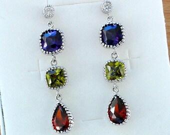 Long Earrings Boho Style Colorful Boho Earrings Peridot Ruby Red Earrings Cubic Zirconia Purple Earrings Gift for her Dangle Green Earrings