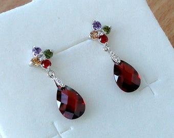Red Earrings Ruby Red Drop Earrings Red Crystal Earrings Ruby Earrings Gift for Women Dangling Earrings Rhinestone Earrings Red Jewelry